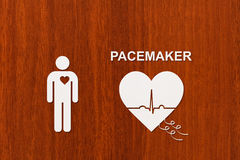Heart shape with echocardiogram and PACEMAKER text. Cardiology concept Royalty Free Stock Photography