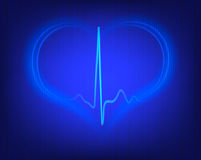 Heart shape and electrocardiogram Royalty Free Stock Photography