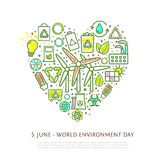Heart shape element made from eco icons and signs with marker strokes, colorful ecological symbols Stock Photos