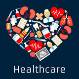 Heart shape emblem with medicine symbols Stock Photography