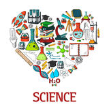 Heart shape emblem with science vector icons. Scientific conceptual decoration design element with chemistry experiment test, research and laboratory equipment Stock Photography
