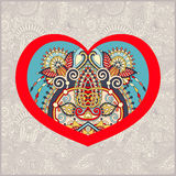 Heart shape with ethnic floral paisley design for Valentine day, Stock Photo