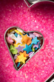 Heart Shape Filled with Candy Stock Photos