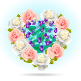 Heart Shape Filled with Flowers. Vector Illustration Stock Image