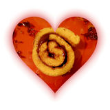 Heart shape filled with one slice of sponge cake roll Stock Image