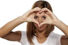 Heart shape fingers Stock Images