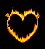 Heart shape fire stock photography