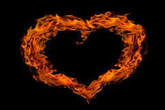 Heart shape fire flame, isolated Royalty Free Stock Image