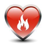 Heart Shape Fire Icon. Heart Shape Fire Sign Icon Stock Photos