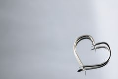 Heart Shape fishing hooks Stock Photo