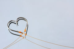 Heart Shape fishing hooks Royalty Free Stock Images
