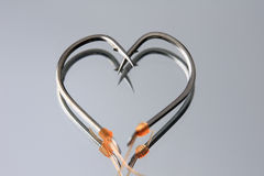 Heart Shape fishing hooks Stock Photography