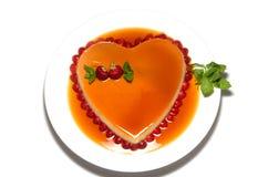 Heart shape flan caramel Stock Photo