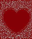 Heart shape floral frame illustration on red background   Stock Images