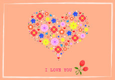 Heart shape flowers  background Royalty Free Stock Images
