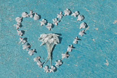 Heart shape formed from bleached flowers on textured background Royalty Free Stock Photo