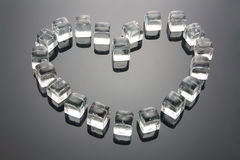 Heart Shape Formed by Ice Cubes. With Reflection Royalty Free Stock Images