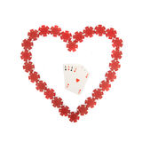 Heart shape with four aces inside Royalty Free Stock Photos