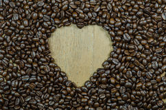 heart shape frame make from roasted coffee beans Stock Photos