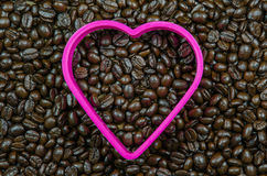 heart shape frame make from roasted coffee beans Royalty Free Stock Images