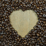 heart shape frame make from roasted coffee beans Royalty Free Stock Image