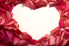 Heart shape frame of red rose petals. At white background Stock Images