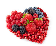 Heart shape of fresh berries. Heart shape of various fresh berries Stock Photo