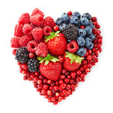 Heart shape of fresh berries Royalty Free Stock Images