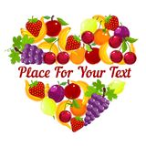 Heart shape from fresh fruit with copyspace Stock Photography