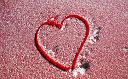 Heart shape on frost  for love symbols Royalty Free Stock Images