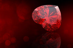 Heart shape gemstone. Collections of jewelry gems on black Stock Photography