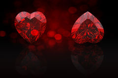 Heart shape gemstone. Collections of jewelry gems on black Stock Photos