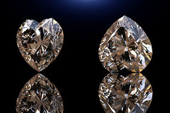 Heart shape gemstone. Collections of jewelry gems on black Royalty Free Stock Images
