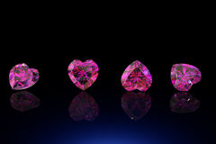 Heart shape gemstone. Collections of jewelry gems. On black Stock Photo