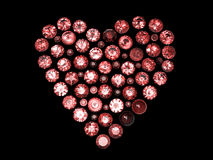 Heart shape gemstone. Collections of jewelry gems Stock Photos