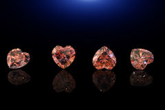 Heart shape gemstone. Collections of jewelry gems on black Royalty Free Stock Photography