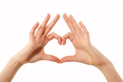 Heart shape gesture hands female isolated on white Royalty Free Stock Photo
