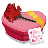 Heart Shape Gift Box with Card and Rose for Mother's Day, Vector Illustration Royalty Free Stock Image