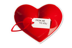 Heart shape with gift tag Royalty Free Stock Images