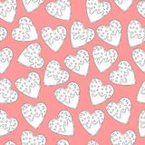 Heart shape ginger cookies with frosting and little hearts for St. Valentine`s day seamless pattern in black and white on pink bac. Kground. Coloring page, paper Stock Image