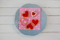 Heart shape gingerbread cookies on plate Stock Image