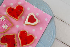 Heart shape gingerbread cookies on plate Stock Photography