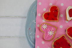 Heart shape gingerbread cookies on plate Royalty Free Stock Photography