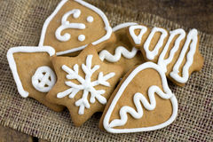 Heart shape  gingerbread Cookies on sacking Royalty Free Stock Photos