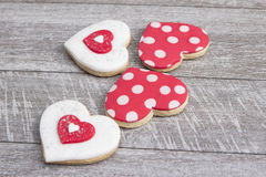 Heart shape gingerbread on wooden background Stock Photography