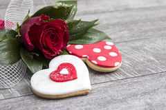 Heart shape gingerbread on wooden background Stock Photo