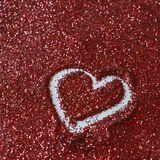 Heart shape on glitter Royalty Free Stock Photos