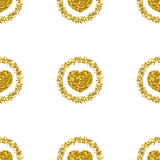 Heart shape from gold glitter.Heart glitter pattern.Gold sparkles Royalty Free Stock Photos