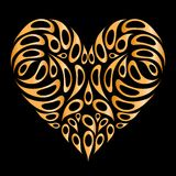 Heart shape golden on black for your design Royalty Free Stock Image