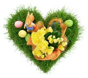Heart Shape Grass with Easter Eggs on white Background stock photo